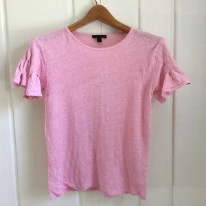 J. Crew Linen Flutter-Sleeve T-Shirt